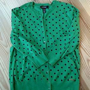 Preppy Polkadot Cardigan Sweater
